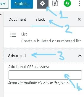 block settings side panel